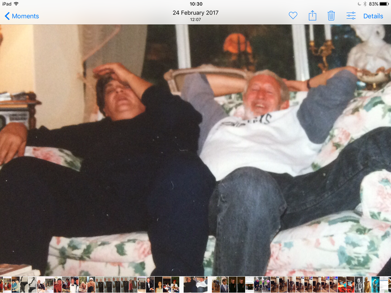 Phil and I at my home  after enjoying a very good bottle of Burgundy !!!----early 90's.  Terry Slater